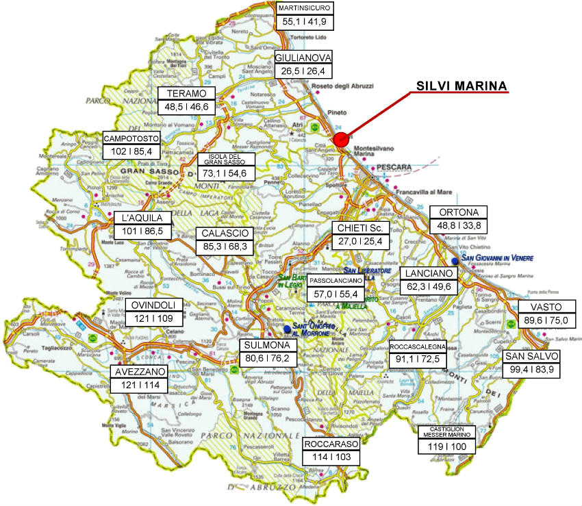 Abruzzo Cartina Geografica Dettagliata.Mappa Geografica Abruzzo Silvi Marina
